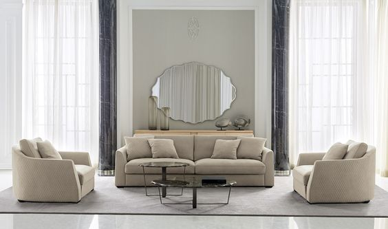 Luxury Modern Living Furniture: BASILIO Sofa   BASILIO Armchair   AUGUSTIN  Central Table   AUGUSTIN
