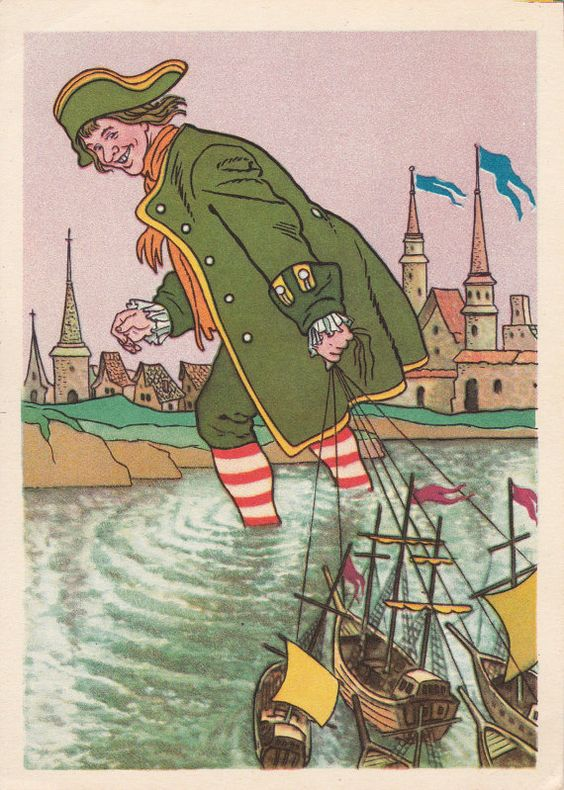 "Postcard Illustration by Valk for J. Swift ""Gulliver's Travels"" - 1957, Soviet Artist"