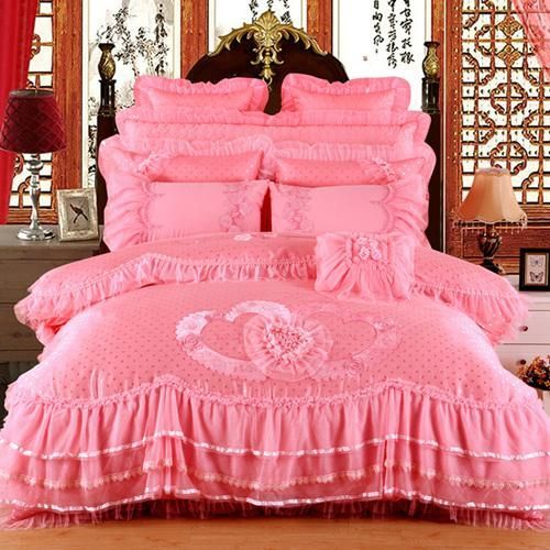 Applique Luxury Lace Silk Satin Luxury Bedding Set With Images