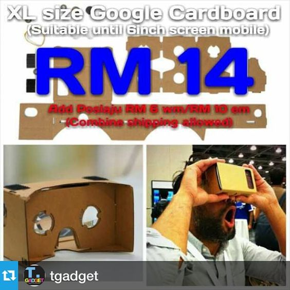 """An awesome Virtual Reality pic! #Repost @tgadget with @repostapp.XL size Google Cardboard  If u want know this function.... Pls goto YouTube and search """"Google Cardboard""""  Package includes: 1 x Cardboard 2 x Magnets 2 x Lens 2 x Pairs of Velcros  Pls Whatsapp me 012-5974138 Wechat ID: kokwei4138  Pos Laju every working days!!! Pls search """"tgadgettestimony"""" in instagram....for my testimony from my customer...Thank You!! #googlecardboard #3d #cardboardmalaysia #monopodmalaysia #diymalaysia…"""