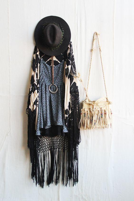 Free People fringe outfit - black festival hat, blue prairie print tunic, tie dye kimono, fringe beaded bag.