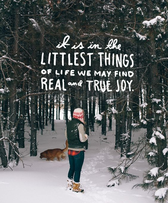 """It is in the littlest things of life we may find real and true joy."" 