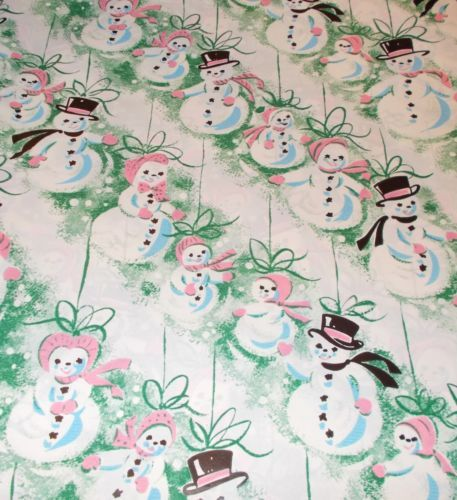 vtg christmas wrapping paper gift wrap mid century cute snowmen pink 1940s vintage wrapping paper pinterest christmas wrapping papers paper and