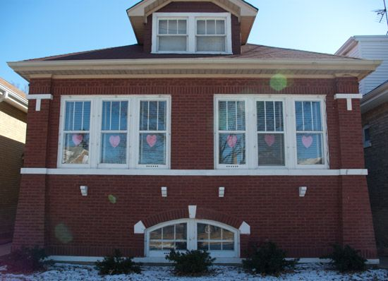 House with Valentine's Day Decorations