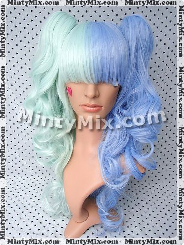 mint and blue wig
