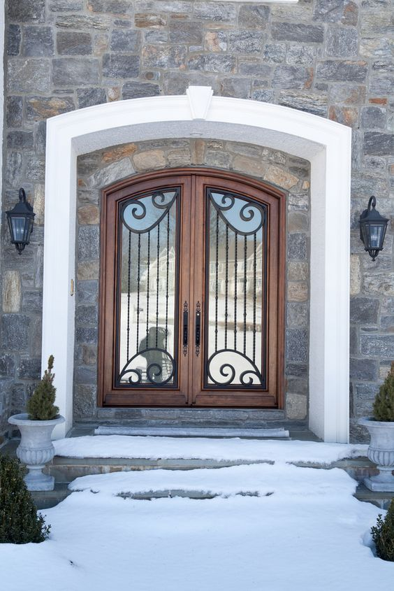 Borano berytus solid mahogany double door with iron grill for Insulated double doors