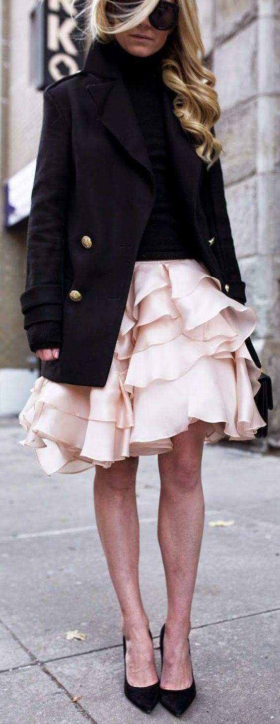 Light Pink Cascading Ruffle A-line Midi Skirt by Atlantic ...
