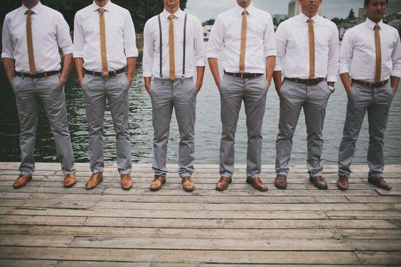 Gray slacks & skinny ties groomsmen | A Bohemian Chic Canadian Wedding That Will Make Your Heart Swoon http://storyboardwedding.com/a-bohemian-chic-canadian-wedding-that-will-make-your-heart-swoon/