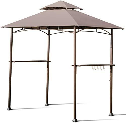 New Giantex Barbecue Grill Gazebo Bbq Canopy Tent Outdoor Patio Shelter Double Tier Uv Resistant Roof W Air Vent Steel Frame Hooks Bottle Opener 8 X5 Tan Onli In 2020 Grill Gazebo Canopy Tent