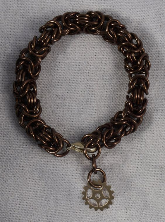 Thick Bronze Steampunk Chainmaille Bracelet / Brown by ChainPunk