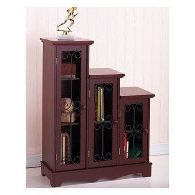 Stair Step Bookcase cabinet stair step graduated set storage furniture wood shelves