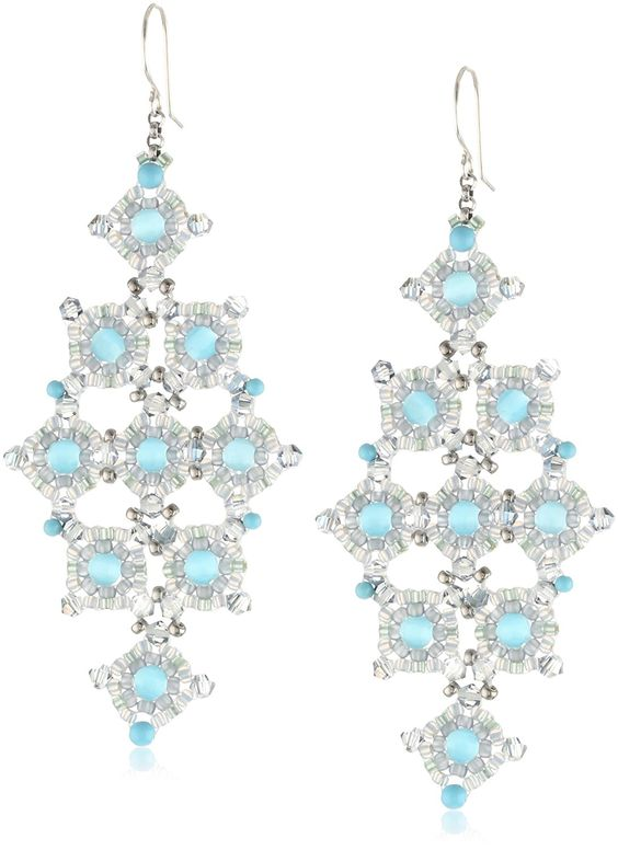 Amazon.com: Miguel Ases Cat's Eye and Turquoise Diamond-Shape Drop Earrings: Jewelry:
