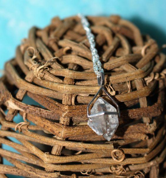 Herkimer Diamond Necklace, Clear Quartz Pendant, Clear Quartz Crystal Pendant…