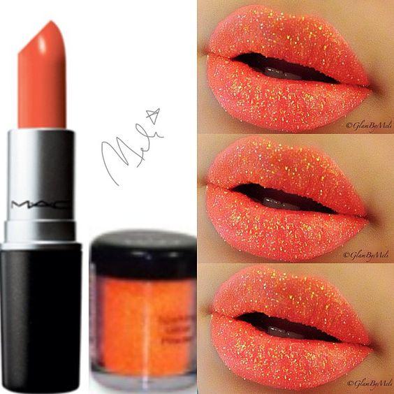 Glitter  lippy!! Using #Mac Morange~#Nyx glitter on the go in neon ...