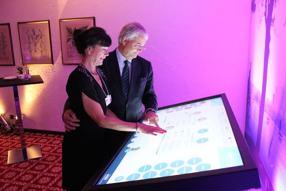 KPMG @ WEF 2014: What better way to launch our new Instagram account than with a photo of our Global Chairman, Michael Andrew and his lovely wife Mardy exploring #WEF participant tweets on the new #WEFLIVE interactive touch screen surface in #Davos.