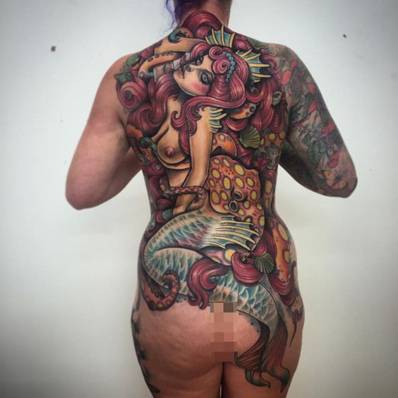 Neo traditional mermaid back piece tattoo  by Shakey Pete  The Fat Anchor 4A Albany Road Newquay, Cornwall If you are interested in having a tattoo by these two artists, please contact us at Fb page https://www.facebook.com/thefatanchor/