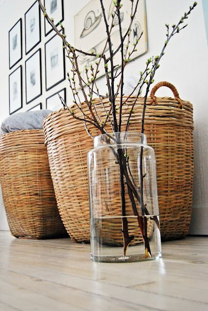 ♥ - on the hunt for some big baskets like these to put extra blankets/pillows in in the living room:
