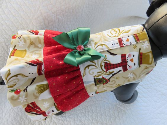 Christmas Dog Dress or Cat Dress  Double Ruffle by graciespawprints on Etsy