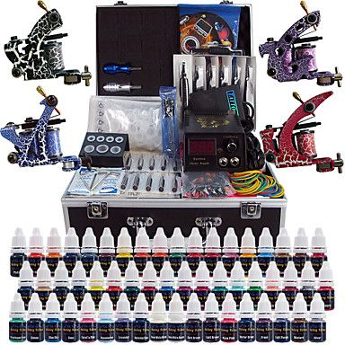 Solong+Tattoo+Complete+Tattoo+Kit+4+Pro+Machines+54+Inks+Power+Supply+Foot+Pedal+Needles+Grips+Tips+TK456+–+CAD+$+111.19