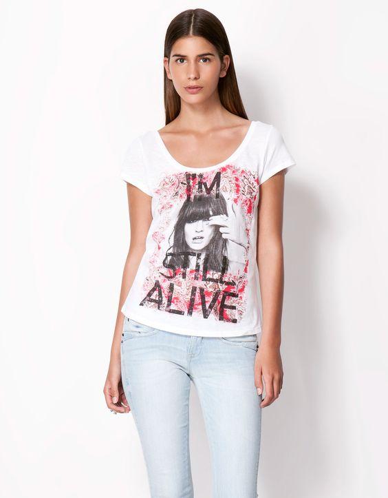 Bershka España - Camiseta Bershka fotográfico chica
