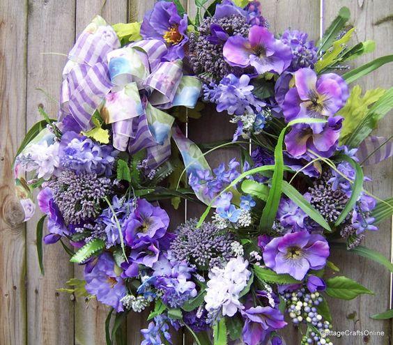 "Purple Door Wreath Silk Floral Pansies ""Purple Fantasy""  by cottagecraftsonline on Etsy"