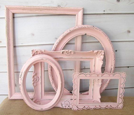 Frame Set Collection Vintage Antique, Pink Baby Nursery Decor, Wedding Frames, Large Picture Frames on Etsy, $67.99
