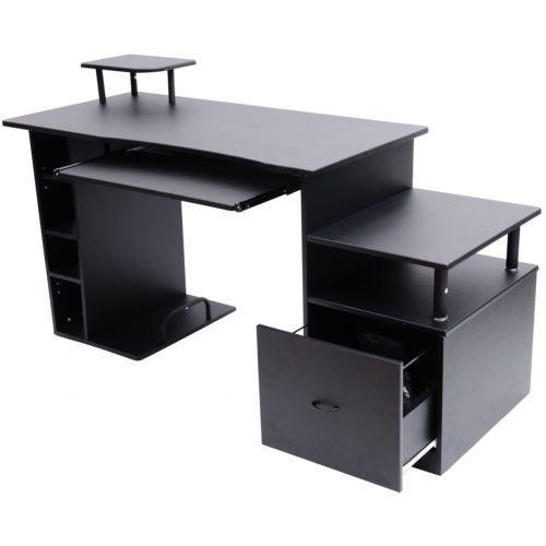 Printer Shelf For Desk Black Computer Pc Desk Home Office Notebook Study  Table