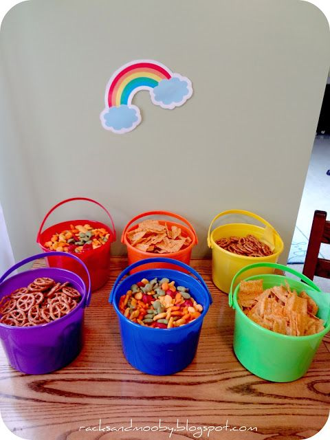 snacks in colorful buckets  cute when playing in the water in the summer   double use!