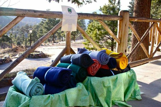 Outdoor ceremony was a bit chilly, so they offered blankets to the guests.