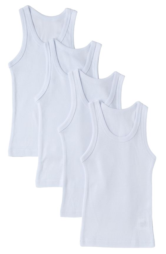 Boys Undershirt 4 Pack 100% Cotton White Tank Tops