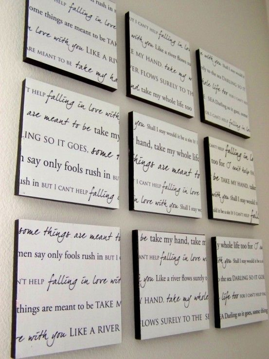 Turn our first dance song lyrics into wall art  Great for people who are artsy or even for those who aren't. It's very creative and people will remember it because its different....
