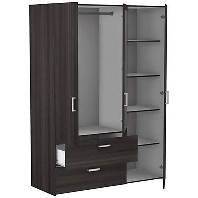 Armoire 3 Portes 2 Tiroirs Ready Imitation Chene Fonce Wardrobe Design Bedroom Bedroom Cupboard Designs Cupboard Design