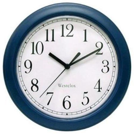 Westclox 46985 Simplicity 8 Inch Round Wall Clock- Blue, Red