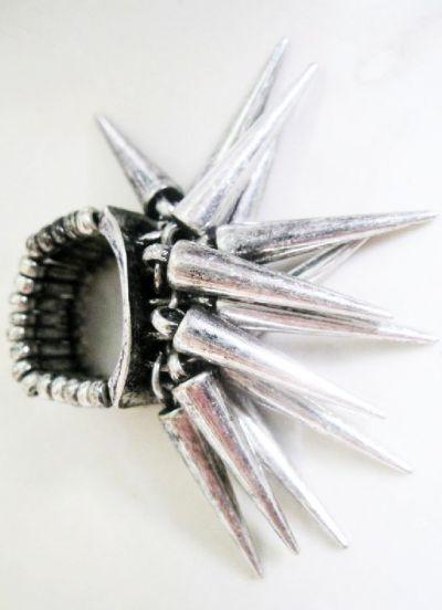 Latest Design Vintage Silver Spike Ring #SheInside