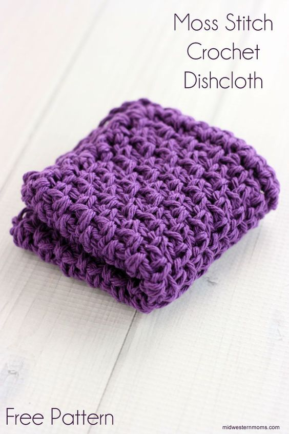 Double Moss Stitch Knitting In The Round : Moss stitch crochet dishcloth pattern