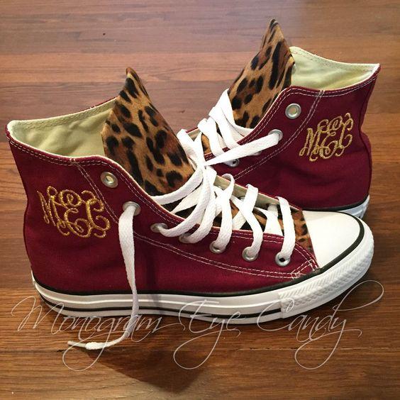 Customized Converse Sneakers- Wine/Cheetah Print – Monogram Eye Candy
