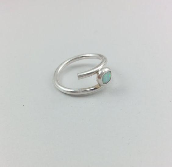 Opal Fine Silver Ring Size 6 by LeafRiverJewelry.etsy.com, $45.00
