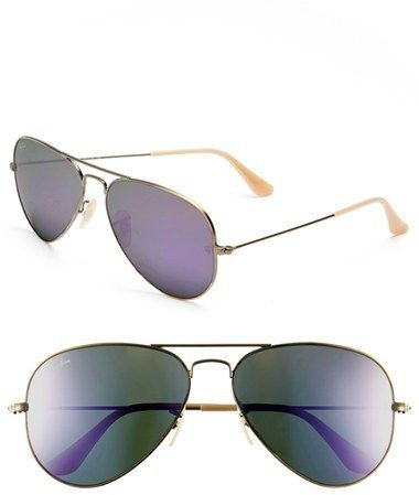 RAY-BAN 'ORIGINAL AVIATOR' 58MM SUNGLASSES  $150–170 by Ray-Ban at Nordstrom         Available Colors: Bronze/ Grey Mirror Purple ,Bronze/ Lilac Mirror ,Bronze/ Red Mirror ,Fuchsia/ Mirror ,Gold ,Gold/ Brown ,Gold/ Mirror Available Sizes: DETAILS Classic aviators are fashioned with adjustable nose pads and full sun protection. 58mm lens width; 14mm bridge width; 135mm temple length. Adjustable nose pads. 100% UV protection. Metal. By Ray-Ban; made in Italy.