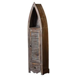 """Add a rustic touch to your living room or den with this delightful wood cabinet, featuring a boat silhouette and weathered finish.    Product: CabinetConstruction Material: WoodColor: Weathered brownFeatures:  One drawer Shuttered drawer Dimensions: 51.18"""" H x 13.58"""" W x 8.66"""" D"""