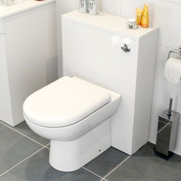 Icona Classic White Concealed Cistern Unit & Toilet - 500mm Width