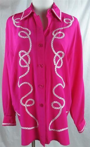 Diane Von Furstenberg Silk Blouse Fuschia Hot Pink Embroidered Rope Design Small | eBay $69.95