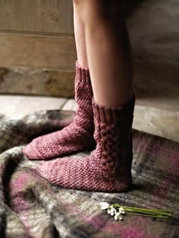 Cuckoo    Knit these cable ankle socks from the Fine Art Collection. A design by Marie Wallin using Fine Art, a premium hand painted sock yarn (merino wool, kid mohair, mulberry silk and polyamide) this knitting pattern is suitable for the average knitter.