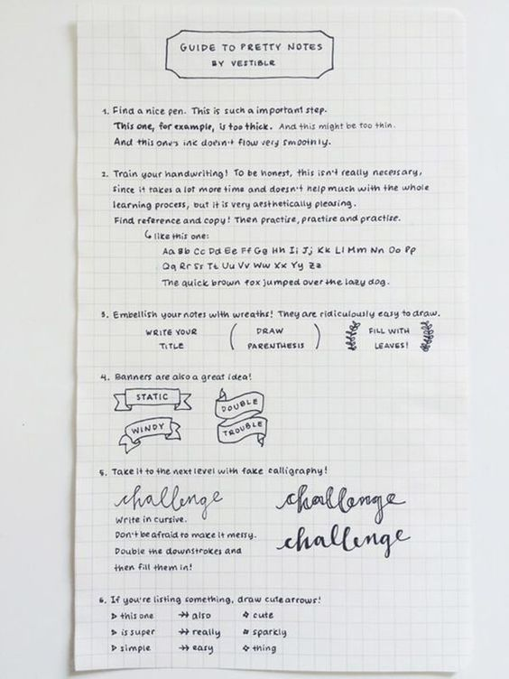 An awesome Guide to pretty notes - Click through to see 25 AMAZING examples of PERFECT handwriting!
