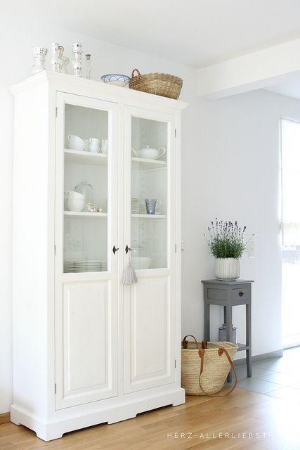 white glass-door cabinet (dining room) by herz-allerliebst, via Flickr.