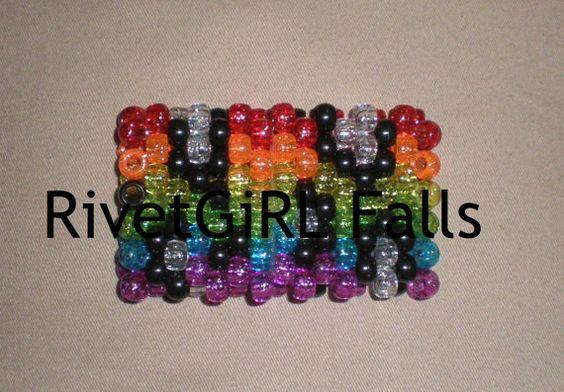 Glitter Rainbow Leopard Print Kandi Cuff Bracelet