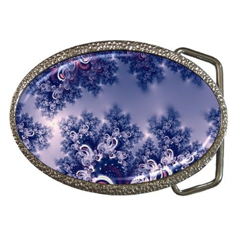 Pink and Blue Morning Frost Fractal #Belt #Buckle (Oval)...#jewelry #accessories #fractals #pink #RoseSantuciSofranko #Artists4God #frost #Winter #designer #cowcow