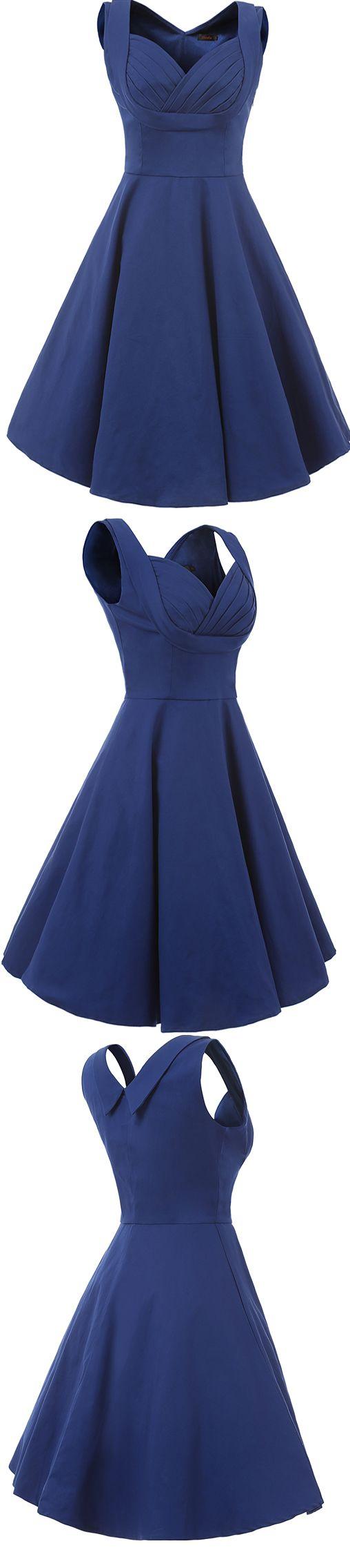 Vianla Women's 1950s V Neck Vintage Cut Out Casual Party Cocktail Dresses, 50S dress #Vintage dresses 1950s dress