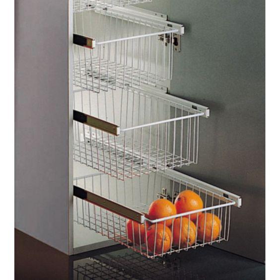Cesto extra ble blanco para armarios de cocina - Armarios de cocina antiguos ...
