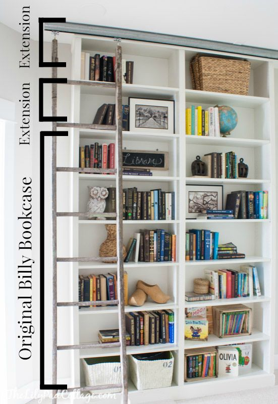 Billy Bookcase Hack With Library Ladder Antique And Ikea