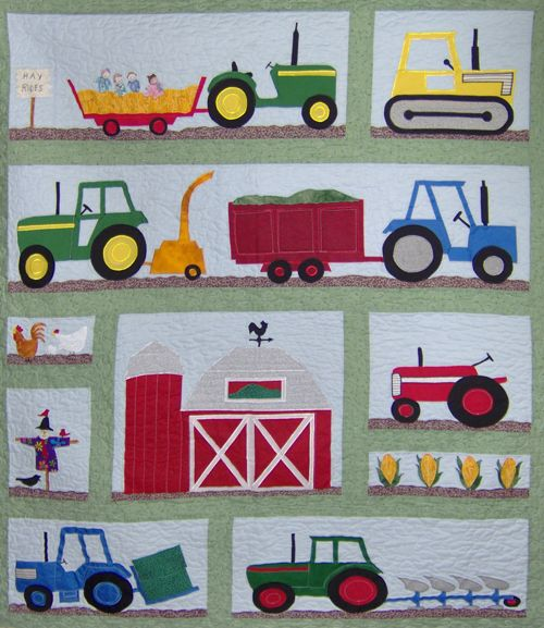 "Farm Land Quilt 45"" x 54""  With borders this could be a cute bed quilt."